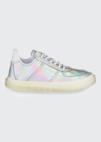 Iridescent Leather Lace-Up Sneakers