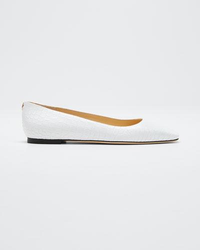 Mirele Croc-Embossed Ballet Flats
