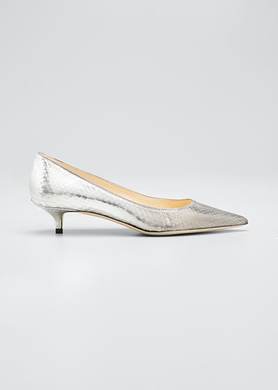 Amelia Snake-Printed Metallic Pumps