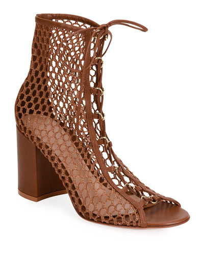 Fishnet Lace-Up Booties