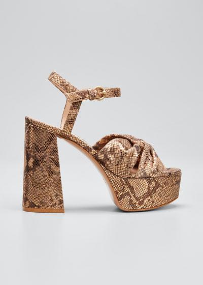 70mm Metallic Platform Sandals with Twist Front