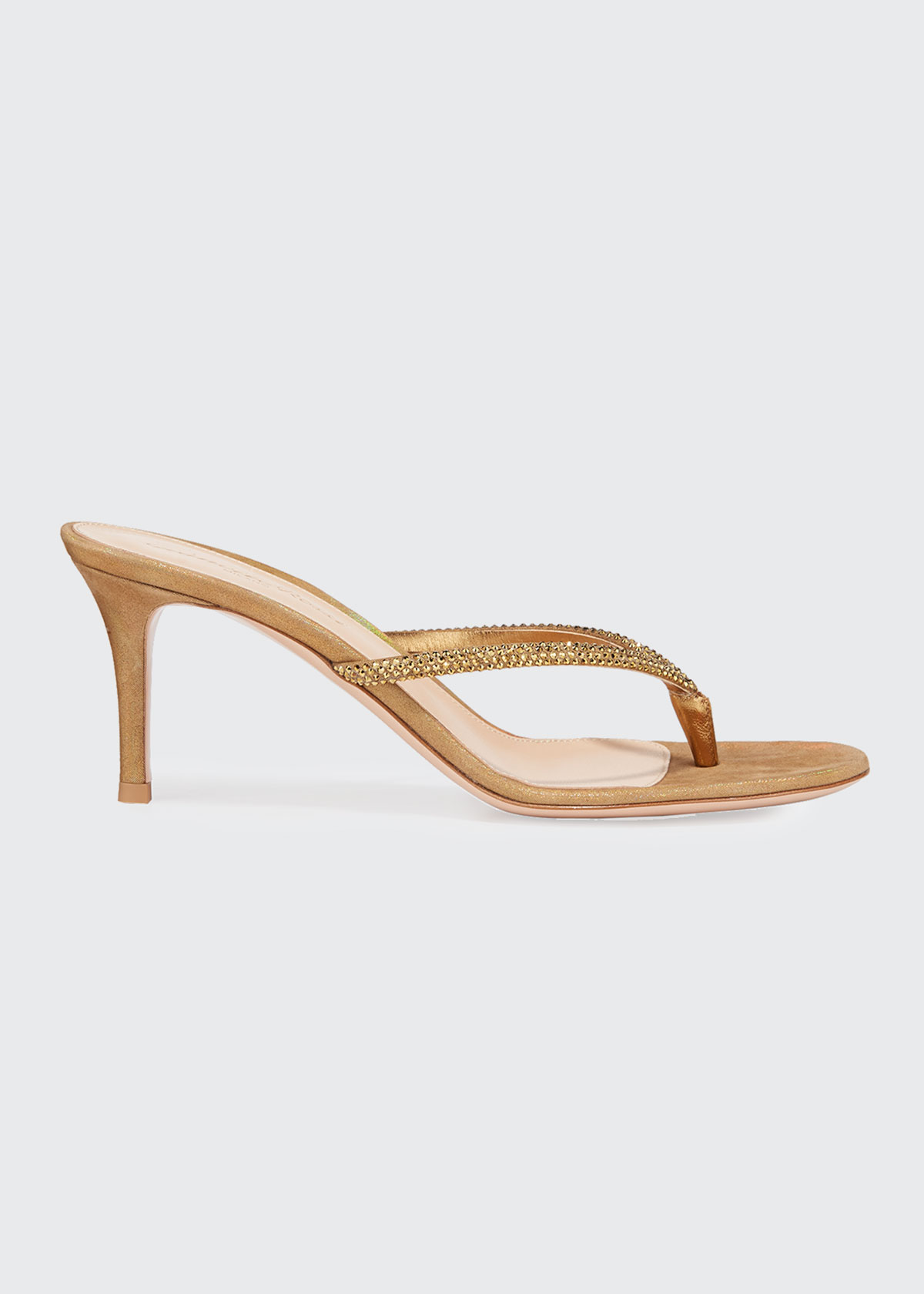 GIANVITO ROSSI THONG STRASS SLIDE SANDALS