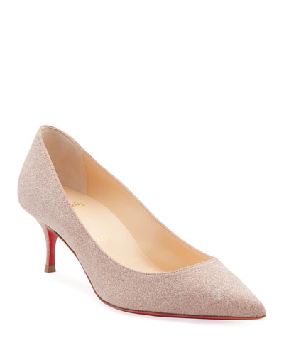 Kate Glitter Kitten-Heel Red Sole Pumps