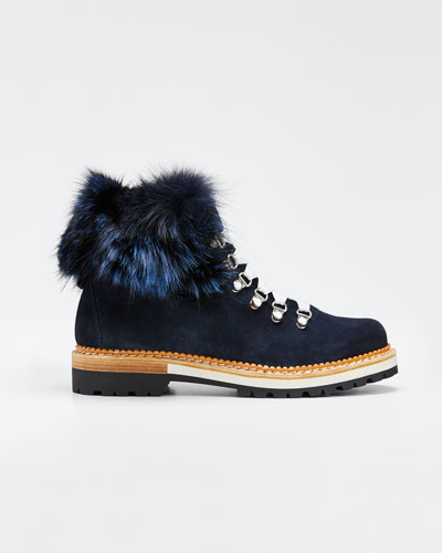 Aurora Suede Boots with Fox Fur Trim