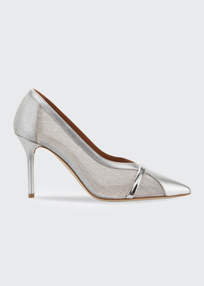 Brook 85mm Sheer Mesh & Metallic Stiletto Pumps