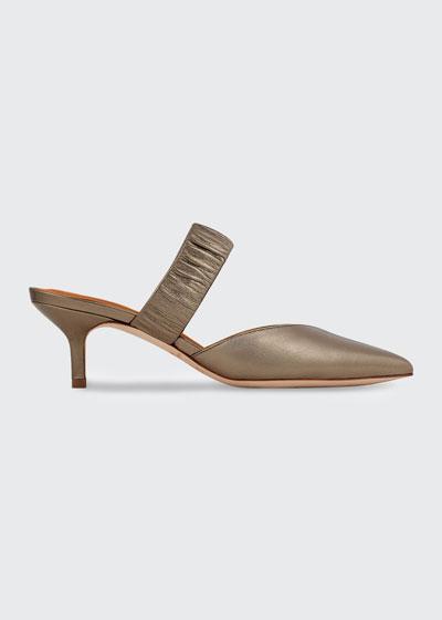 Matilda Metallic Ruched-Strap Mules