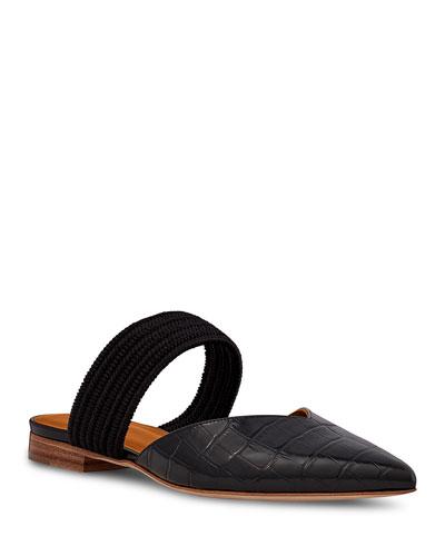 Mock Croc Pointed-Toe Ballet Flats