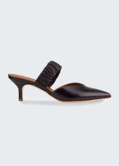 Matilda Metallic Leather Ruched-Strap Mules