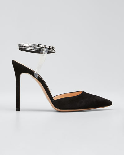 Floating Crystal Stud Ankle-Strap Pumps