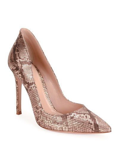 Python-Print Leather Stiletto Pumps