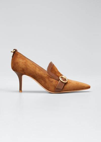 Suede Leather-Buckle Loafer Pumps