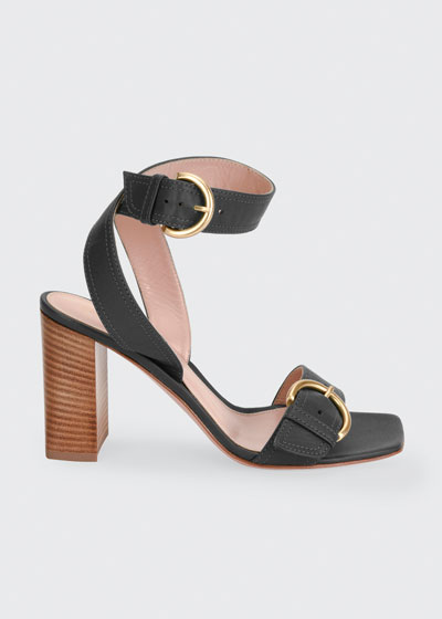 Leather Buckle Ankle-Strap Sandals