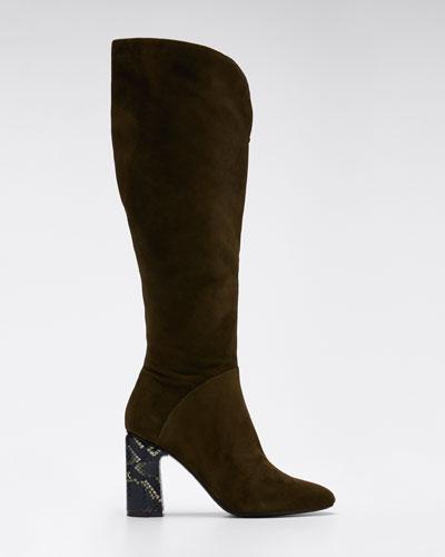 Barretta Suede Snake-Heel Knee Boots
