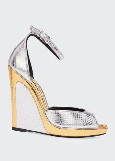 Trompe L'oeil Wedge Snakeskin Sandals