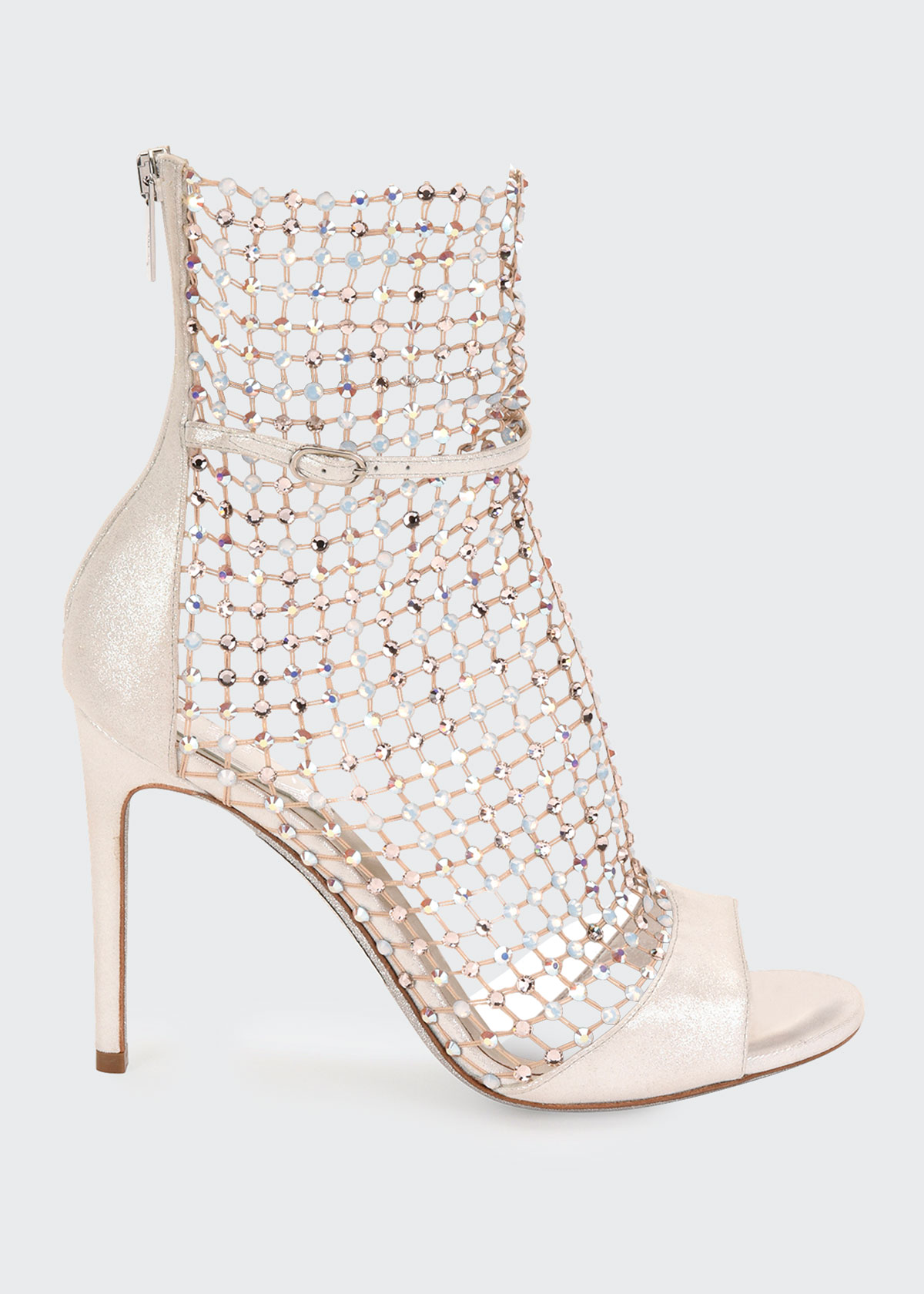 René Caovilla GALAXIA MESH AND METALLIC NET SANDAL-ILLUSION BOOTIES