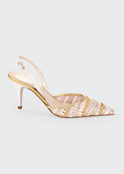 Beaded Cocktail Slingback Pumps
