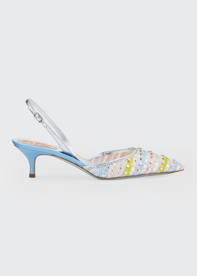 Beaded Stripes Cocktail Slingback Pumps