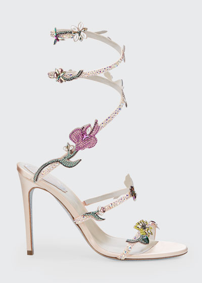 105mm Snake-Ankle Floral Stud Sandals