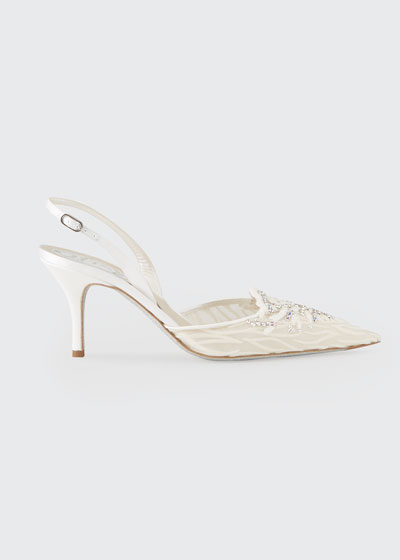 Mesh Crystal Cocktail Halter Pumps