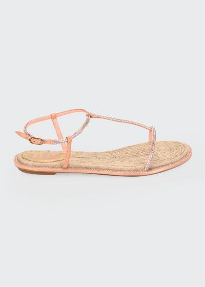 Crystal-Strap Flat Thong Sandals