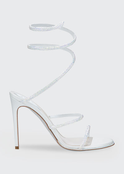 Shimmery Crystal Satin Snake Sandals