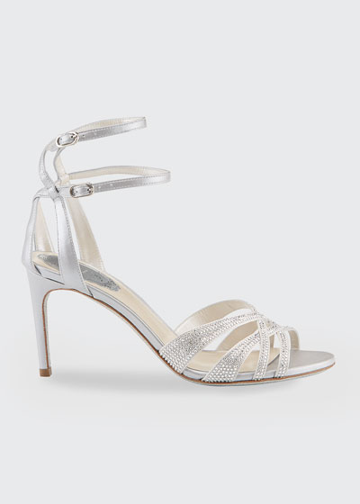80mm Crystal Sandals with Caged Back