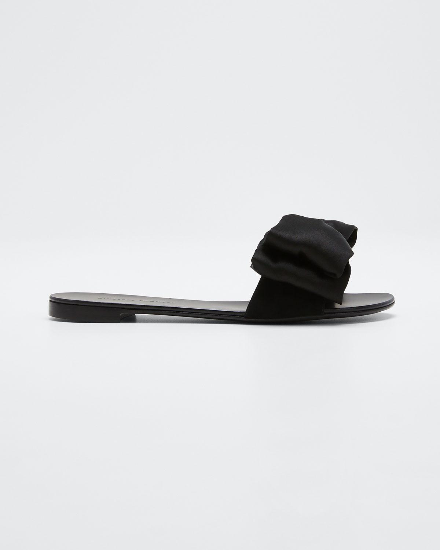 Giuseppe Zanotti Satin Bow Slide Sandals In Black