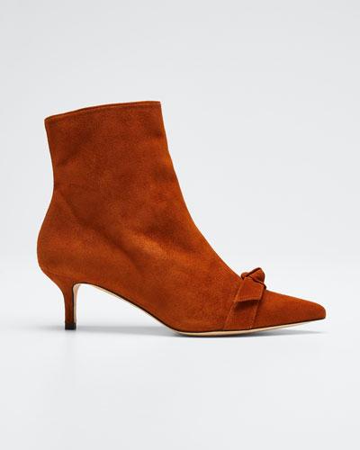 Clarita Suede Knot Kitten-Heel Booties