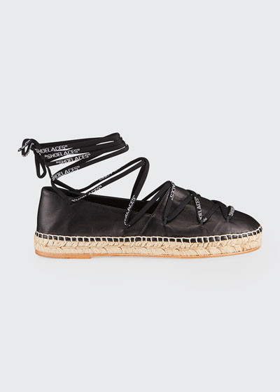 Shoelaces Leather Flat Espadrilles