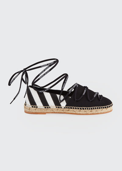 Shoelaces Diagonal Stripe Flat Espadrilles
