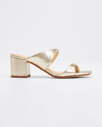 Miki Twisted Metallic Leather Slide Sandals