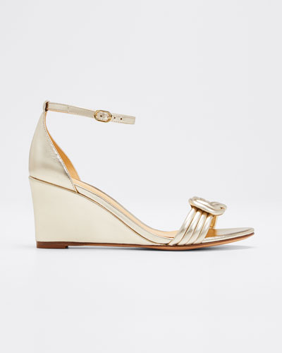 Vicky Metallic Leather Wedge Sandals