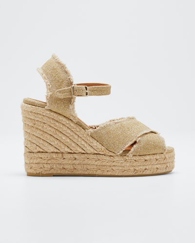 Bromelia 100mm Frayed Wedge Espadrilles