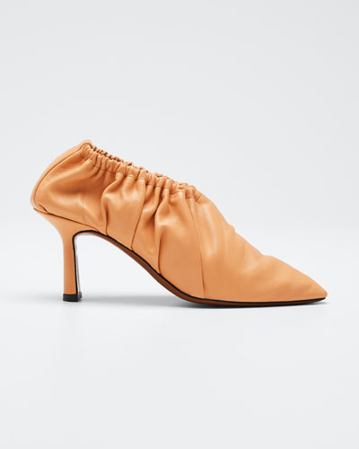 Chondro Leather Ruched Pumps