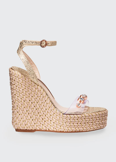 Dina Gem Crackle Espadrille Sandals