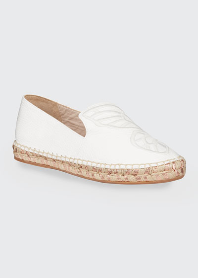 Butterfly Leather Espadrille Flats