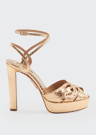 Gardena Plateau Metallic Snake-Print Sandals