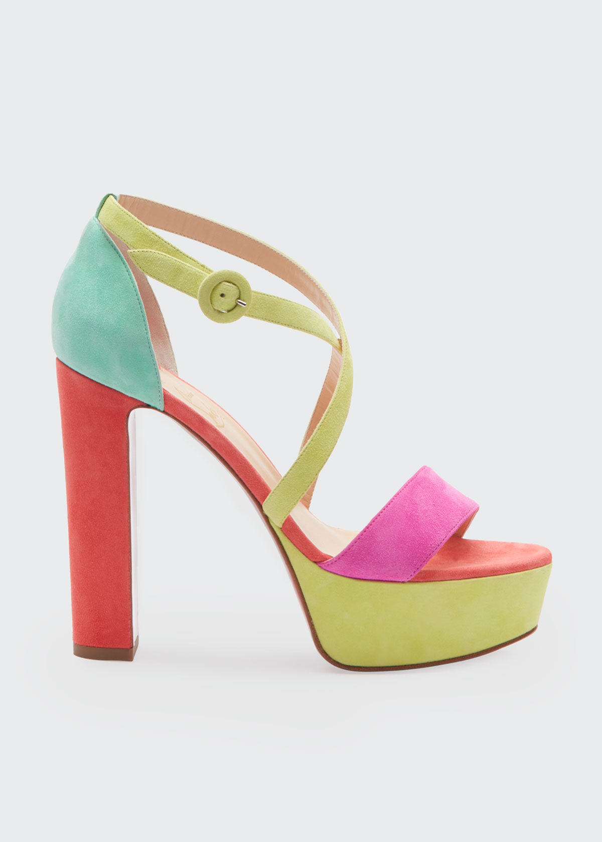 CHRISTIAN LOUBOUTIN LOUBI BEE ALTA 130 RED SOLE SANDALS
