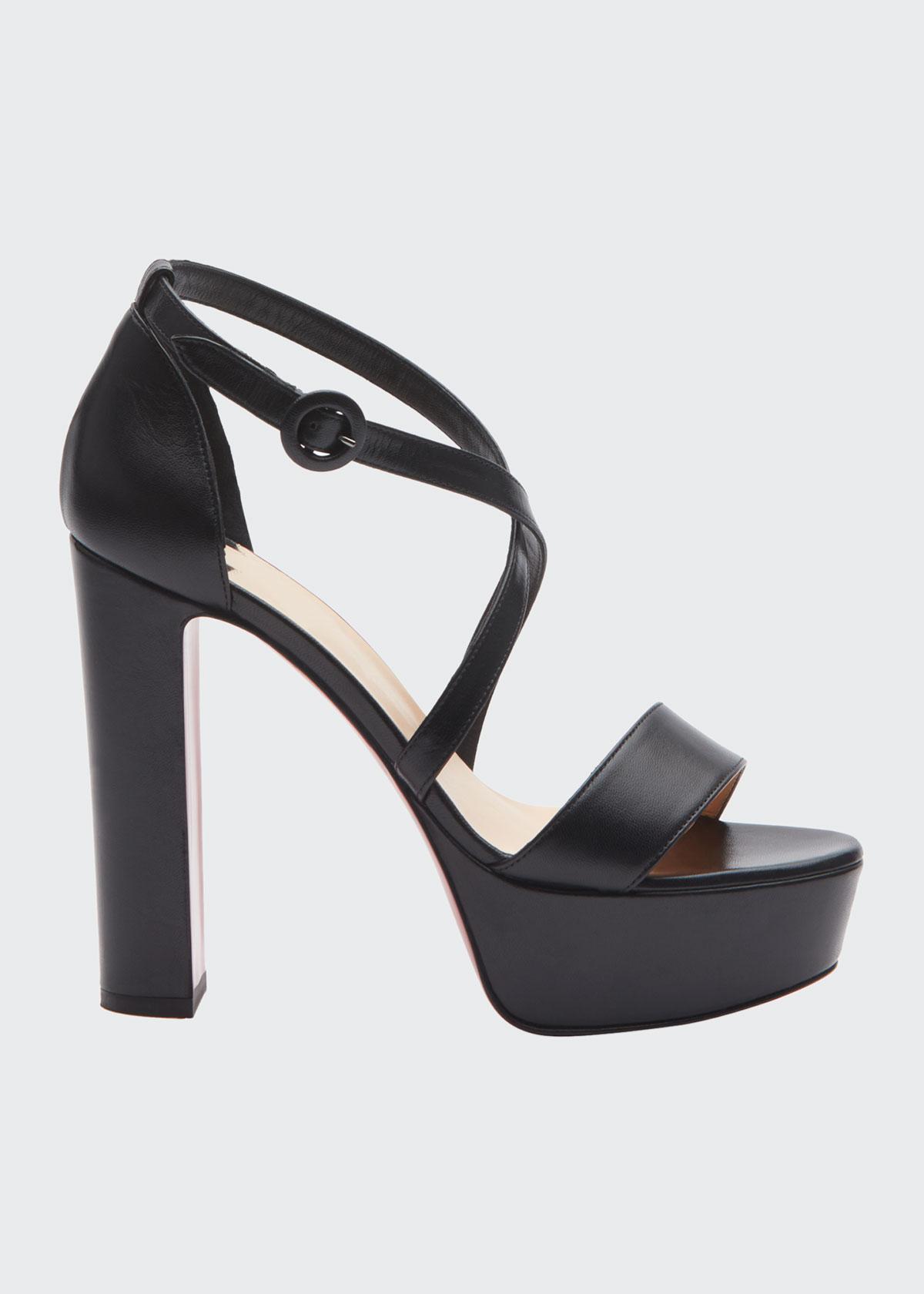 Christian Louboutin High heels LOUBI SLEEK LEATHER RED SOLE PLATFORM SANDALS