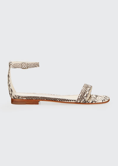 Chaos Snakeskin Ankle-Strap Sandals