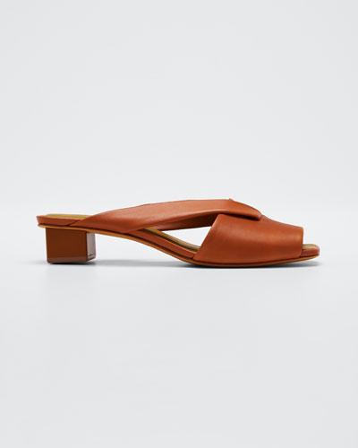 Loop Slide Leather Sandals, Brown
