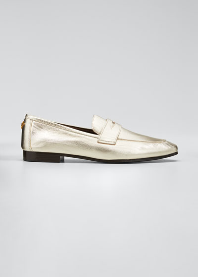 Flaneur Metallic Leather Penny Loafers