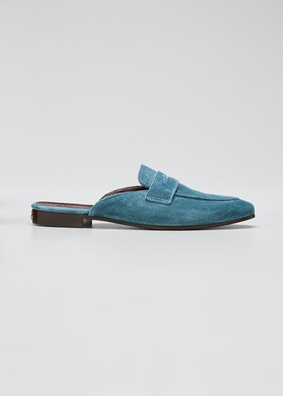 Suede Penny Loafer Mule Loafers
