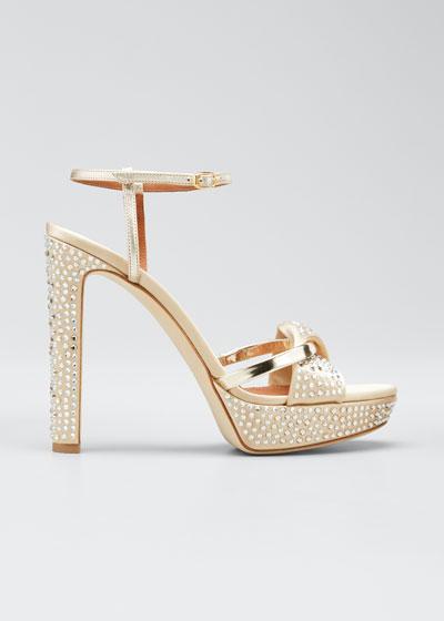 Lauren Metallic Studded 125mm Platform Sandals