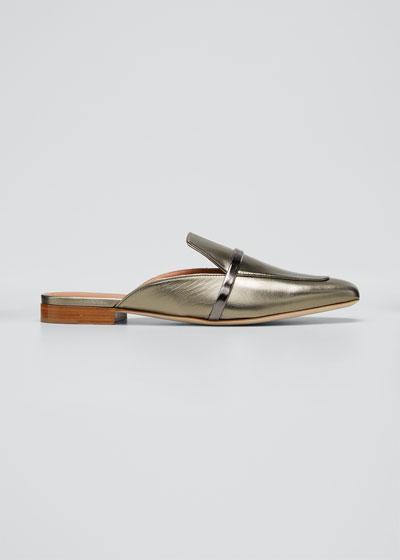 Jada Flat Metallic Napa Loafer Mules