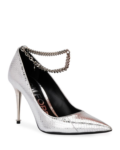 Laminated Snakeskin Chain Pumps