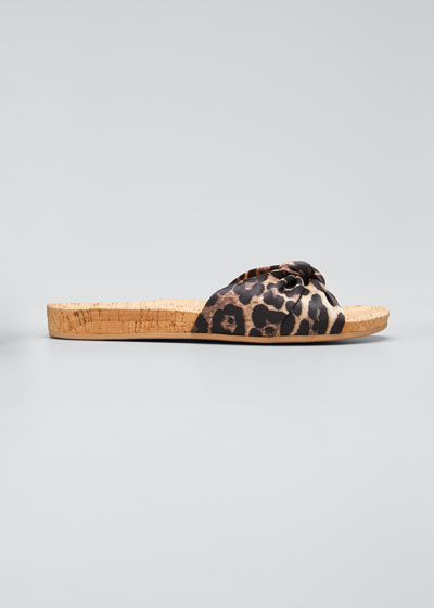 Tilly Leopard-Print Satin Slide Sandals