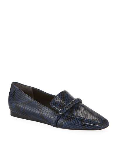 Grier Snake-Print Leather Loafers