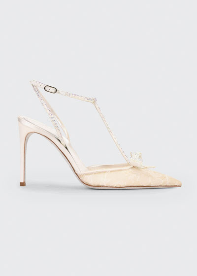 Bejeweled Lace & Satin T-Strap Pumps