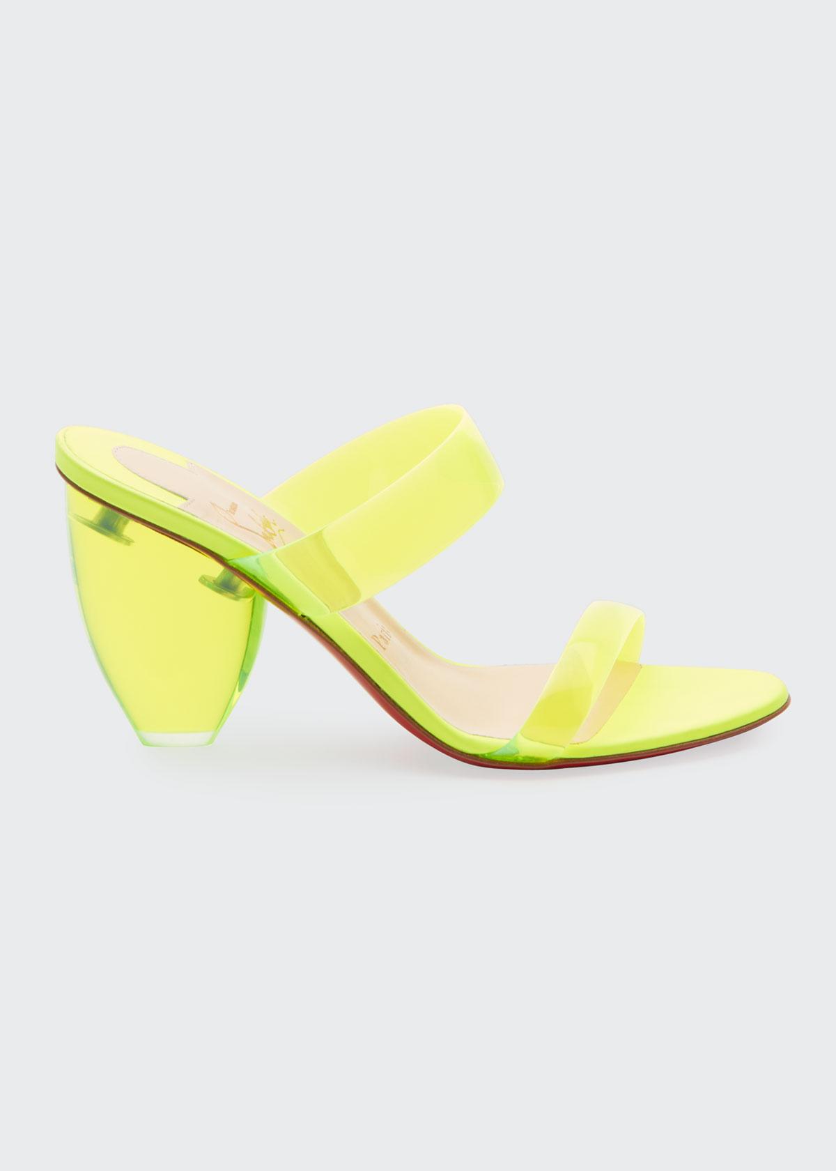 Christian Louboutin Mid heels OVIDA PVC 85MM RED SOLE MULE SANDALS